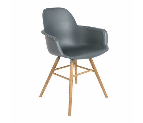 Zuiver Dining chair Albert Kuip plastic timber dark gray 62x56x61cm