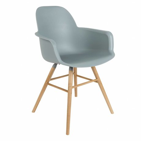 Zuiver Dining chair Albert Kuip plastic timber light gray 62x56x61cm