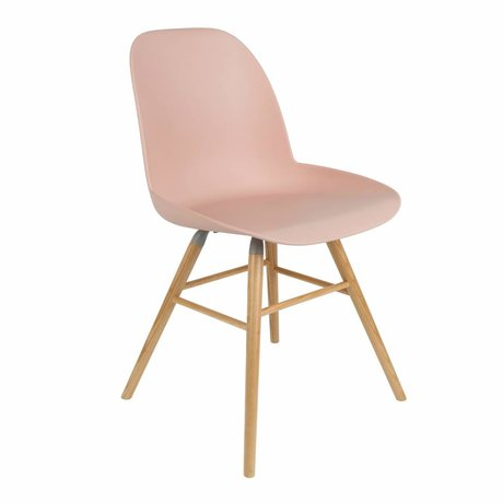Zuiver Dining chair Albert Kuip pink plastic timber 51x49x60cm