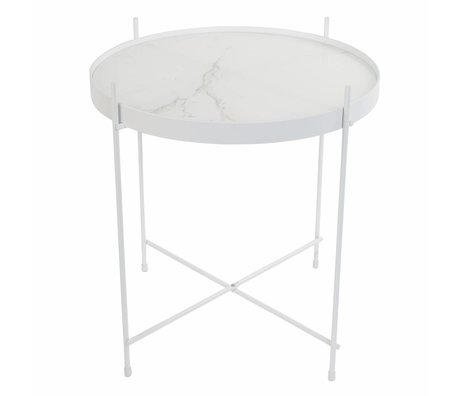 Zuiver Occasional table Cupid marble white, metal white Ø43x45cm