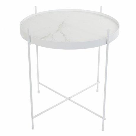 Zuiver Beistelltisch Amor Marmor weiß, Metall weiß Ø43x45cm