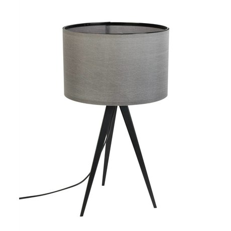 Zuiver Tafellamp Tripod metaal, textiel zwart grijs 28x51cm