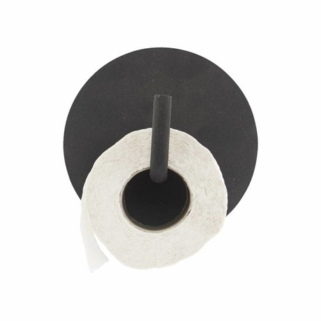 Housedoctor Toilettenpapierhalter Text Aluminium schwarz ø13x12.5cm