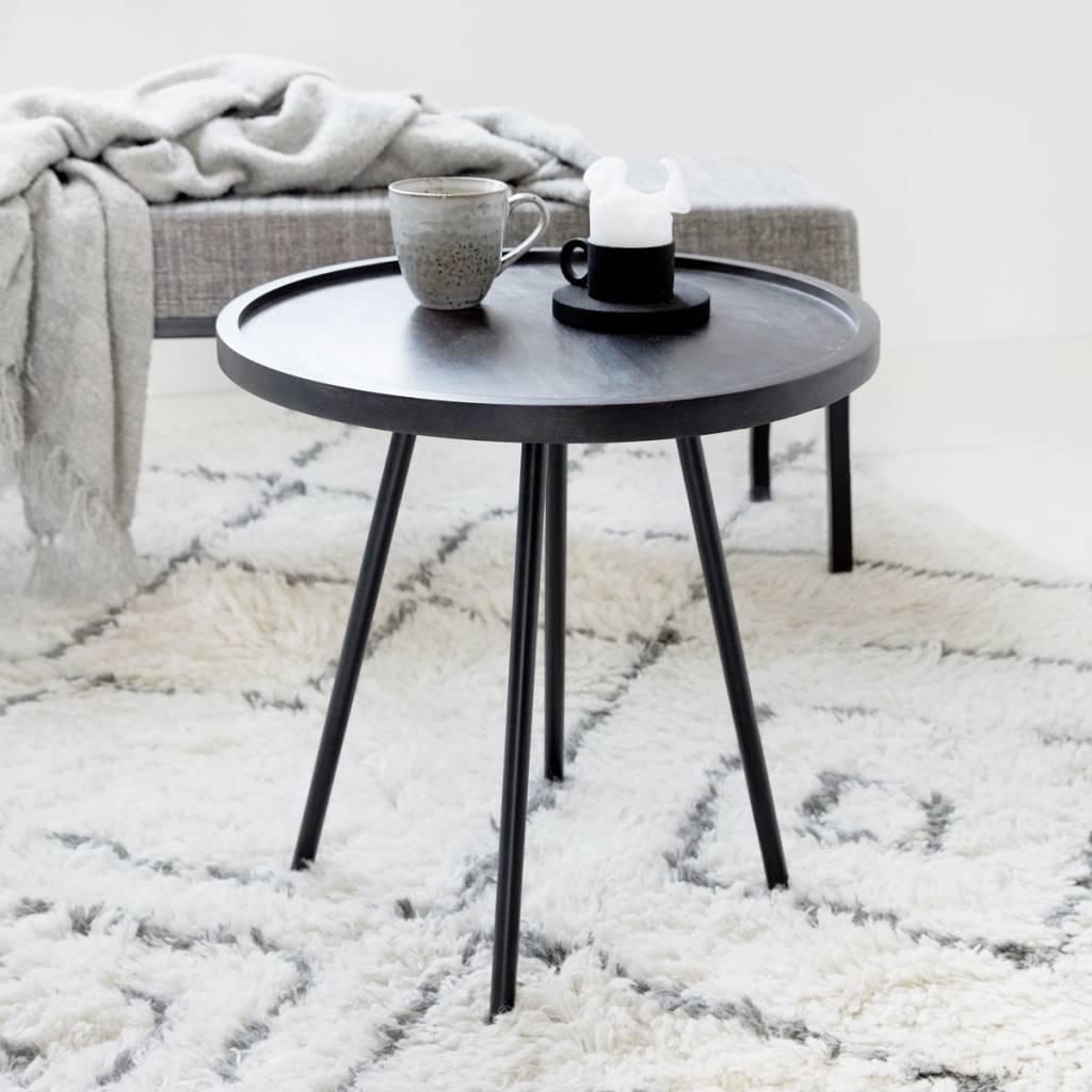 housedoctor bijzettafel juco zwart metaal hout 50x50cm. Black Bedroom Furniture Sets. Home Design Ideas