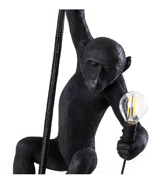la lampe de singe suspendu en nylon noir 27x30x80cm wonen met lef. Black Bedroom Furniture Sets. Home Design Ideas