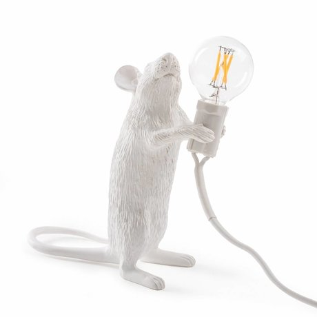 Seletti Tischlampe Mouse weiß Kunststoff 6,2x8,1x14,5cm