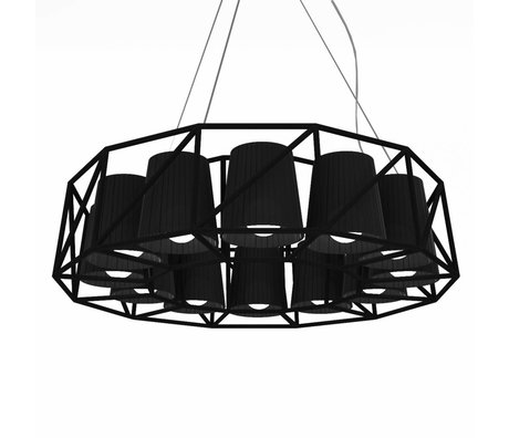 Seletti Hanging Lamp Lamp Multi Ring Black metal ø77x22cm