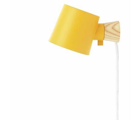 Normann Copenhagen Wandlamp Rise geel metaal hout 9,7x17x10cm