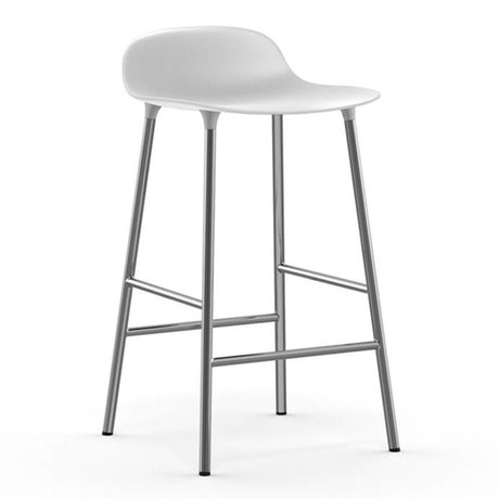 Normann Copenhagen Forme Barstool plastique blanc 77x42,5x42,5cm chrome