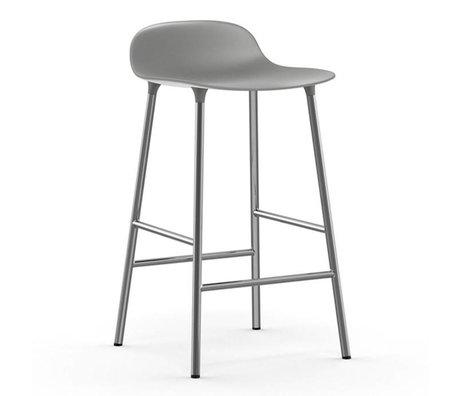 Normann Copenhagen Barstool Form gray plastic chrome 77x42,5x42,5cm