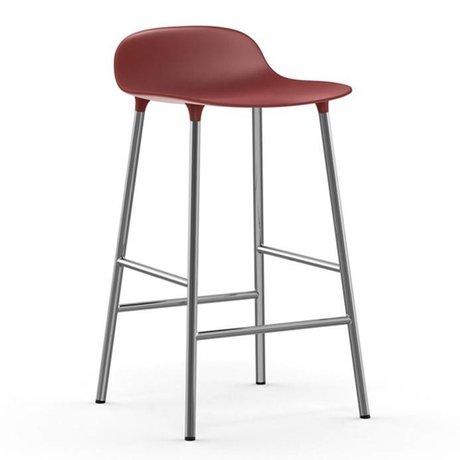 Normann Copenhagen Barstool Form red plastic chrome 77x42,5x42,5cm