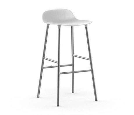 Normann Copenhagen Forme Barstool plastique blanc 87x44x44cm chrome