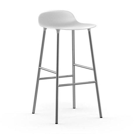Normann Copenhagen Barstool Form white plastic chrome 87x44x44cm