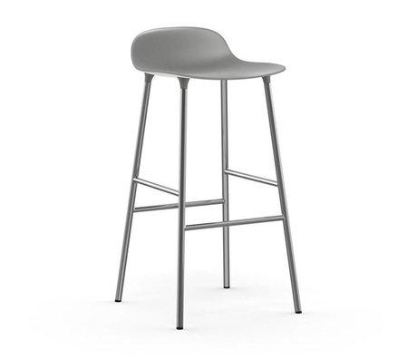 Normann Copenhagen Barstool Form gray plastic chrome 87x44x44cm