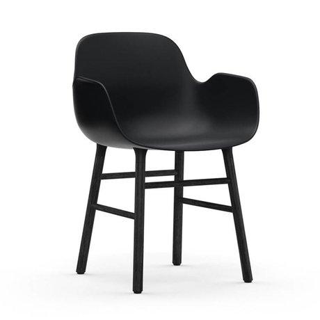 Normann Copenhagen Chair with armrest Form black plastic wood 80x56x52cm