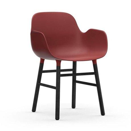 Normann Copenhagen Chair with armrest Form red black plastic wood 80x56x52cm