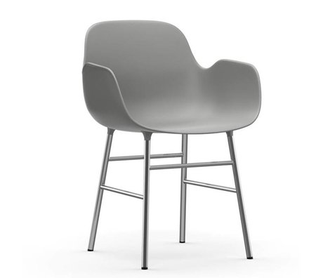 Normann Copenhagen Armchairs Form gray plastic chrome 80x56x52cm