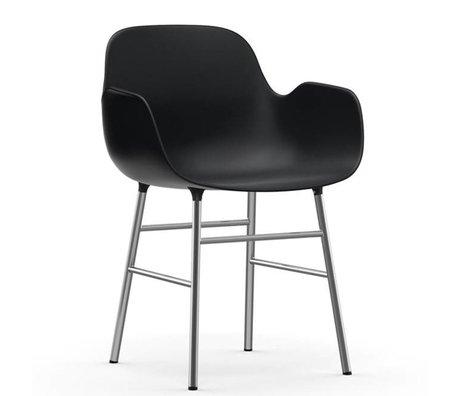 Normann Copenhagen Stoel met armleuning Form zwart kunststof chrome 80x56x52cm