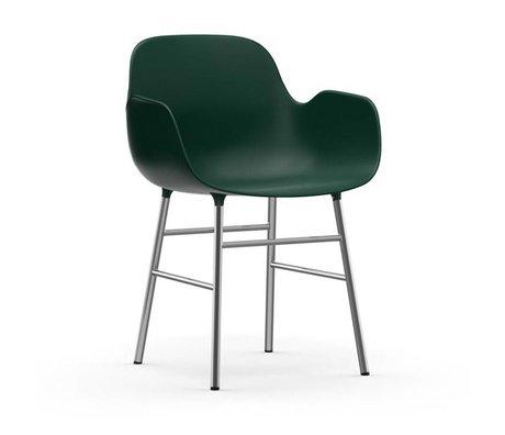 Normann Copenhagen Stoel met armleuning Form groen kunststof chrome 80x56x52cm
