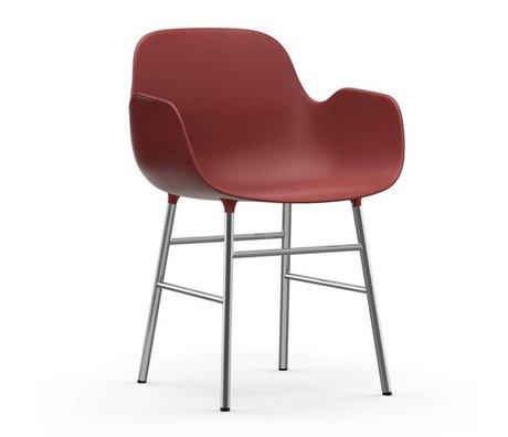 Normann Copenhagen Stoel met armleuning Form rood kunststof chrome 80x56x52cm