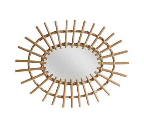 HK-living Mirror oval willow branches 60x45cm