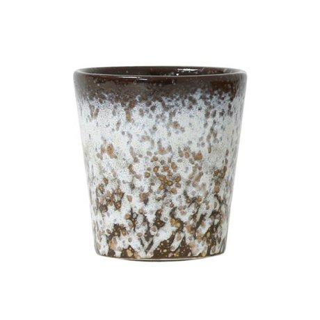 HK-living Tasse Schlamm-Stil der 70er Jahre mehrfarbig Keramik 7,5x7,5x8cm