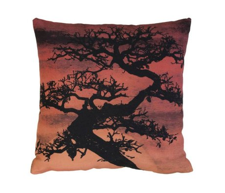 HK-living Kiss 'bonsai sunset' red and black cotton 45x45cm