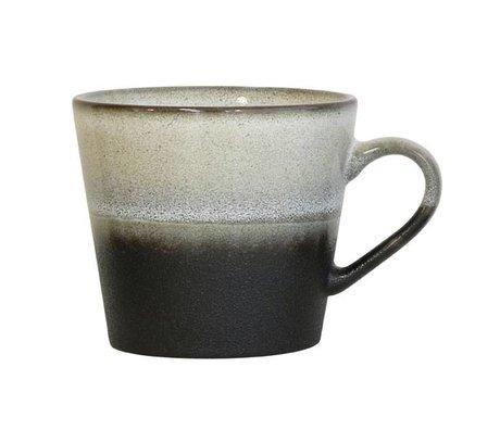 HK-living 12x9,5x8,5cm céramique de style des années 70 en noir et blanc tasse de Cappuccino Rock '