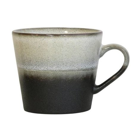 HK-living Cappuccino mug Rock '70's ​​style black and white ceramic 12x9,5x8,5cm
