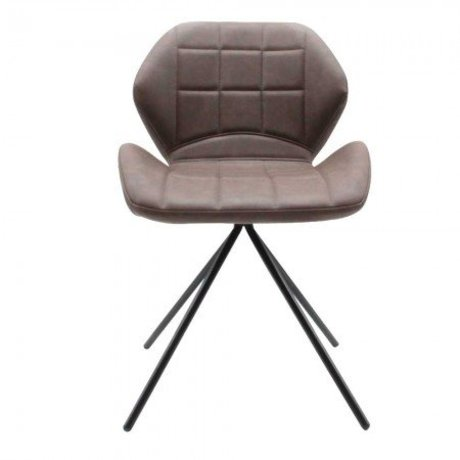 LEF collections Dining chair Flint taupe brown PU leather 50x55x80cm