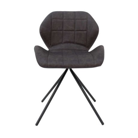 LEF collections Dining chair Flint anthracite gray PU leather 50x55x80cm