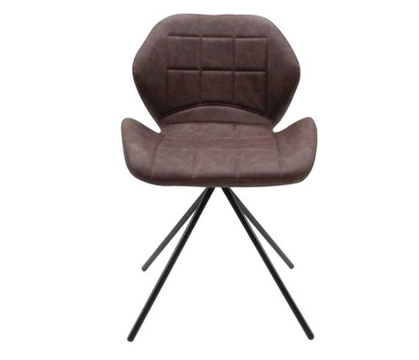 LEF collections Dining chair Flint vintage brown PU leather 50x55x80cm