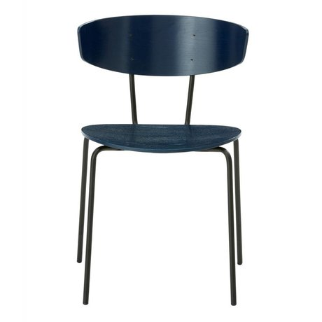 Ferm Living Dining chair Herman dark blue wood metal 50x74x47cm