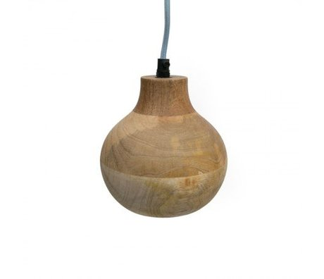 LEF collections Hanglamp clint brown wood 15x15x18cm
