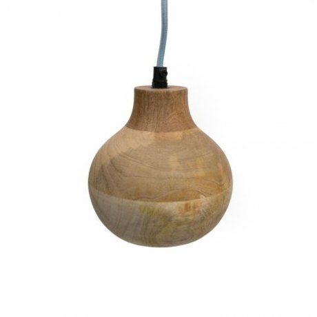 LEF collections Hanglamp clint bruin hout 15x15x18cm