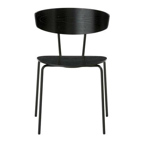 Ferm Living Eetkamerstoel Herman zwart hout metaal 50x74x47cm