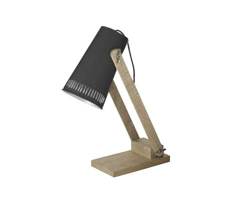 LEF collections Table lamp retro black metal timber 16x26x52cm