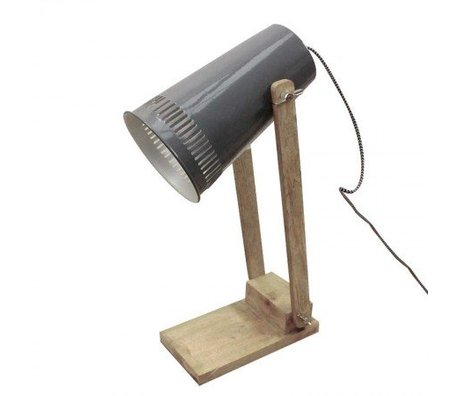 LEF collections Table lamp retro gray metal timber 16x26x52cm