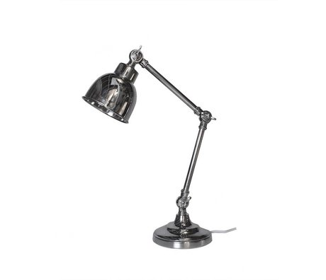 LEF collections Table lamp office retro silver metal 14x20x45cm