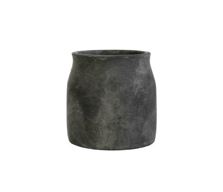 HK-living Flowerpot schwarz Zement Medium 16,5x16,5x17cm