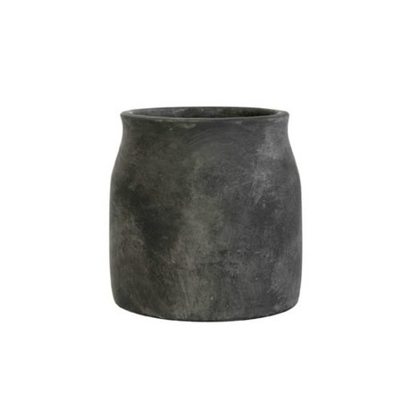 HK-living Flowerpot black cement medium 16,5x16,5x17cm