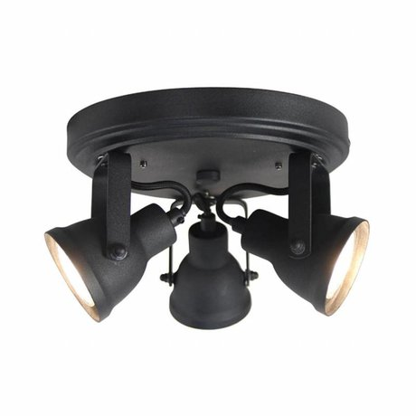 LEF collections Wall lamp spot up 3-light black metal 21x21x13,5cm