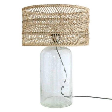 HK-living Tafellamp fles bruin riet glas 40x40x59cm