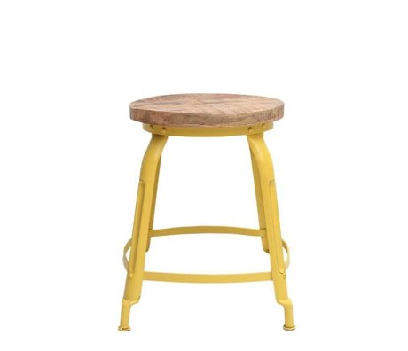 LEF collections Stool delhi yellow metal timber 37x37x47cm