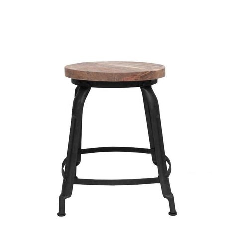 LEF collections Stool delhi black metal timber 37x37x47cm