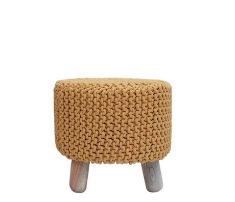 LEF collections Stool kota yellow cotton wood Ø40x40cm
