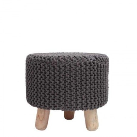 LEF collections Stool kota cotton dark wood Ø40x40cm