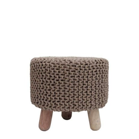 LEF collections Stool beige cotton kota wood Ø40x40cm
