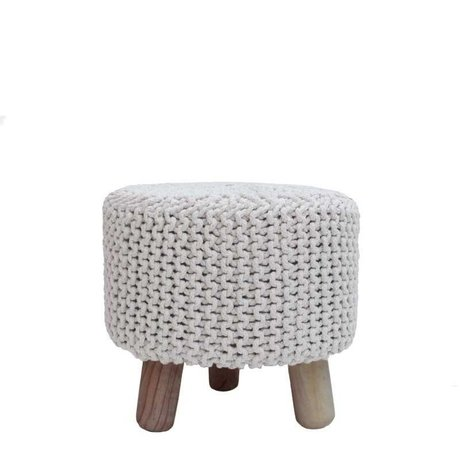LEF collections Tabouret brun Ø40x40cm bois coton naturel kota