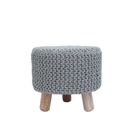 LEF collections Stool light gray cotton kota wood Ø40x40cm
